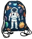 Kinder Turnbeutel unisex mit coolem Astronaut Weltraum Motiven | für Kindergarten, Krippe, Reise, Sport | geeignet als Gymsack, Rucksack, Spieltasche, Sportbeutel, Schuhbeutel - HECKBO