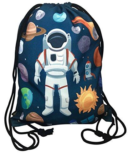 HECKBO Kinder Turnbeutel mit Astronaut Weltraum Motiven Unisex | Kindergarten, Krippe, Reise, Sport | geeignet als Gymsack, Rucksack, Spieltasche, Sportbeutel, Schuhbeutel - für Mädchen und Jungen