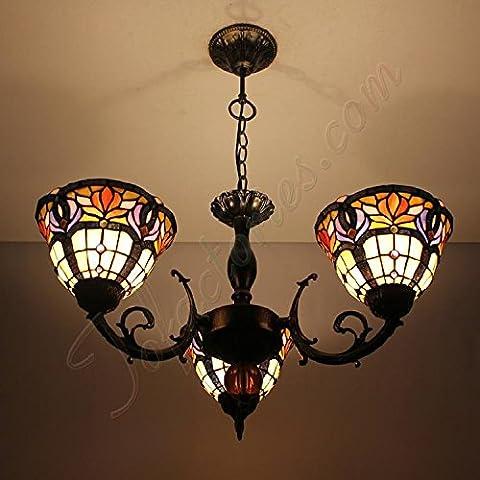 Continental Retro lusso Tiffany di vetro fatti a mano Lampadari Luce del Pendente - 3 luci