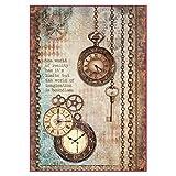 stamperia dfsa4288A4-Papel maché Arroz se envía Relojes y llave, multicolor, 29,7x 21