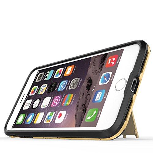Coque Apple iPhone 8 Plus Etui Cover, Ougger Extreme Protecteur [Absorption Des Chocs] Béquille Armor Housse Hard PC + Soft TPU Beau Caoutchouc 2in1 Léger Back Gear Rear Or gris