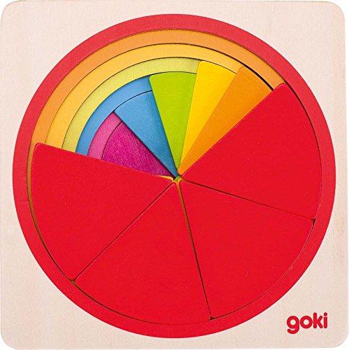 Goki 57737 Schichtenpuzzle Kreis, - Holz-puzzle Kreis