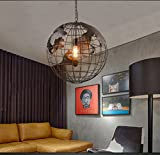 Modern Deckenlampe Retro-Industrie-Stil Globus Anhänger Restaurant Schlafzimmer Studie Gang Bar Kronleuchter Balkon Schlafzimmer (Farbe : Schwarz-30cm)