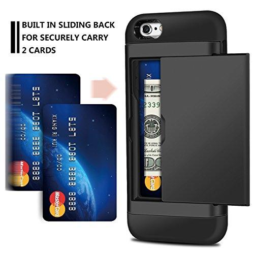 iPhone 6s Plus Hülle, Coolden® Slim Armor Kartenfach Doppelte Schutzschicht mit Kantenschutz 2 Karten Slot Bumper Card Case Schutzhülle für iPhone 6 Plus Handyhülle iPhone 6S Plus Tasche Rose Gold Schwarz