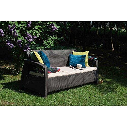 JUSTyou Corfu Max Sofa Couch Gartenbank Rattan 3-Sitzer Sofa in Rattan-Optik Anthrazit Grau - 2