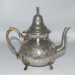 Antike Orientalische marokkanische Tee Kanne Metall versilbert für Pfefferminztee 1000 ml - 376