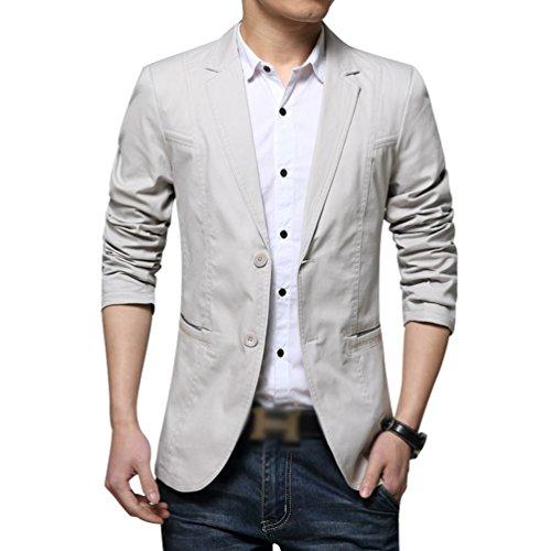 YiLianDa Herren Nehmen Passender beiläufiger Stilvoller Anzug Jacken Mantel Blazer Geschäft Anzugjacken Beige(850) M
