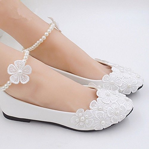 JINGXINSTORE Pizzo Bianco cordone della caviglia scarpe matrimonio pompa Nuziale White