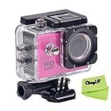 CkeyiN ® 1080P Full HD Impermeable Cámara de Acción Deportiva con Pantalla LCD de 2.0 Pulgadas (Morado)
