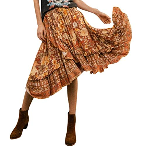 Go First Eleganter Sommer In Voller Länge Boho Blumendruck Plissee Chiffon Langes Maxirock Kleid (Color : Mehrfarbig, Size : L) (Tee-länge Kleid Off-weißen)