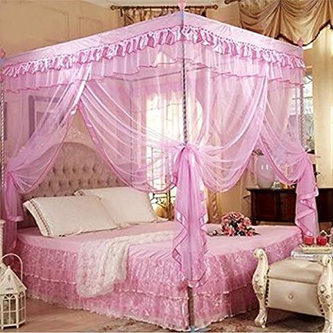 Jeteven Moskitonetz Insektennetz rosa Baldachin Dreitür Betthimmel Palace-Stil mit Edelstahlrohr für Einzel oder Doppelbetten 120X200cm