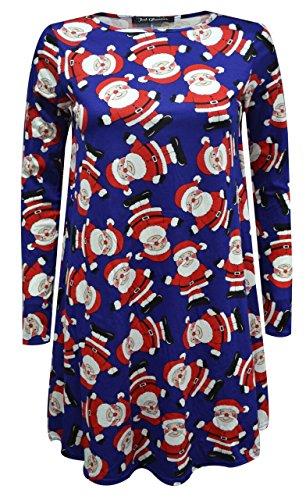 Fashion 4 Less - Robe - Robe de swing - Manches Longues - Femme - Royal Santa