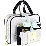 Adrienne Vittadini Set Of 3 Satchel Cosmetic Cases Silver And White Geo