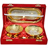 J.R. Handicrafts Festival Gift Superior Quality Golden And Silver Plated Bowl Set Includes 2 Bowls, 2 Spoons And 1 Tray In A Beautiful Gift Box Is A Perfect Gift For This Diwali Festival And Wedding Season | Embrace Yourself, Friends, Relatives And Your C