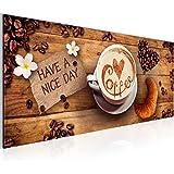 Bilder - Wandbild - Vlies Leinwand - 100 x 40 cm - Kaffee Bild - Kunstdrucke - mehrere Farben und Größen im Shop - Fertig Aufgespannt !!! 100% MADE IN GERMANY !!! - Coffee - Herz 501212a
