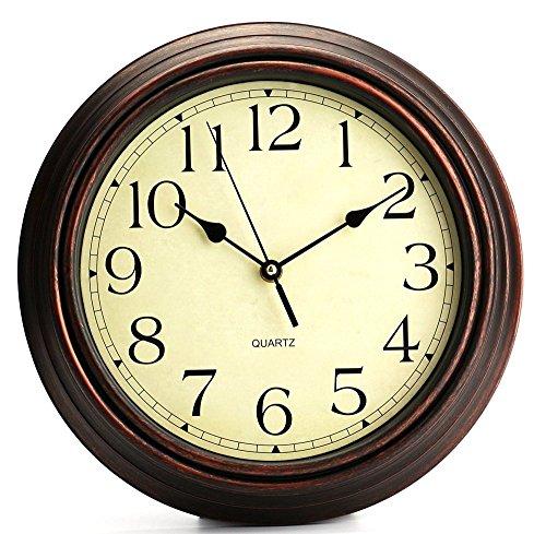 Ardisle Reloj De Pared Marrón De 40 Cm. Habitación Con Cama Cocina Grande En El Hogar Vendimia Estilo En Mal Estado Elegante Reloj Clásico Redondo De 12 Pulgadas Reloj De Pared Retro De Cuarzo Tictac Decorativo Reloj De Pared Casa De La Casa De Campo Casa De Campo Efecto De Madera Clásico