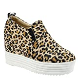 MissSaSa Damen geschlossen Plateau Keil-Sneaker (37, Leopard)