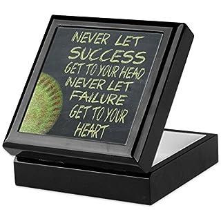 CafePress–Réussite Fastpitch Softball Motivation–Boîte souvenir, finition en bois dur Boîte à bijoux, EN velours doublé Memento Box