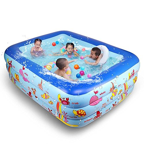 XIE - Piscina hinchable para niños con tres piscinas de PVC, 250 x 180 x 70 cm