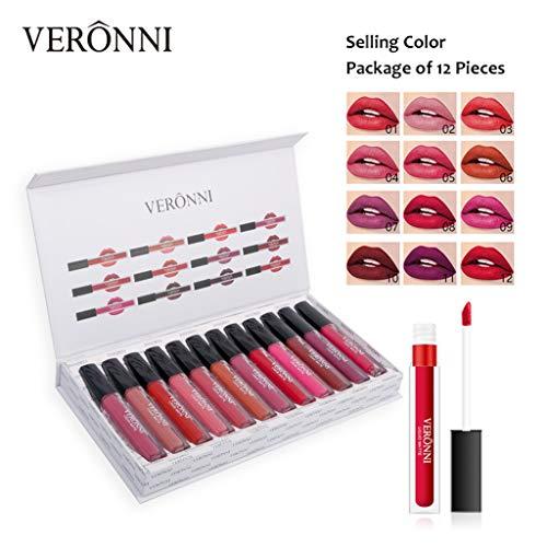 VERONNI 12Pcs / Set Rouge à Lèvres Facile à Porter Lèvre Longue Durée Gloss Imperméable Madame Cosmétiques