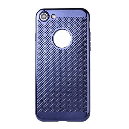 Couleur Pure Case Pour iPhone 7, Asnlove Souple Silicone TPU Étui Housse Avec des Trous de Refroidissement Coque Electroplated Cas Trou Respirant Cover Pour iPhone 7, Bleu Bleu