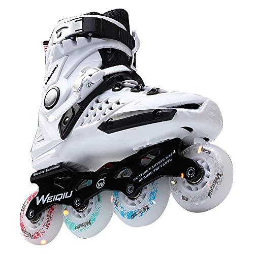 FXPCQC Inline Skates Verstellbar MäDchen,Inline Skates Damen Herren,Stilvolles Farbrad, Komfort Und 360 ° BelüFtung,White-43