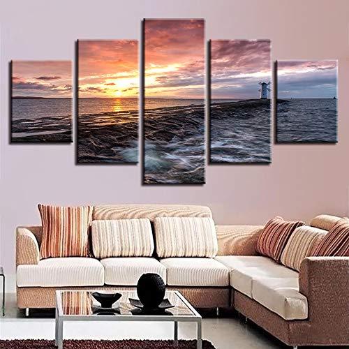 Decorazione della Parete della Stanza s Lavoro Stampa HD 5 Pezzi Mulino a Vento Faro Tramonto Paesaggio Poster Foto su Tela modulari Art
