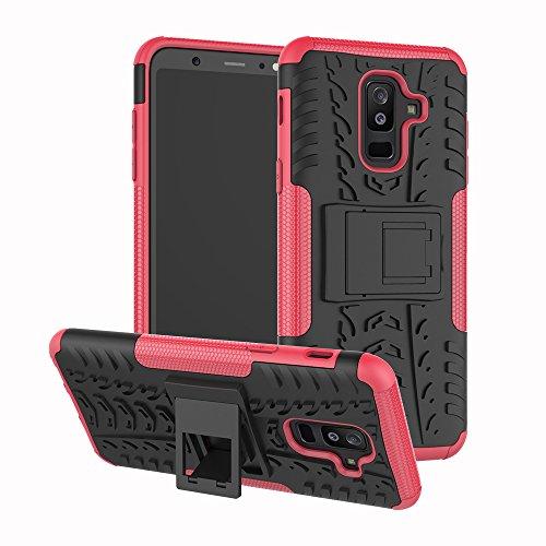 Samsung Galaxy A6 Plus Hülle Silikon 2018, Nnopbeclik Handyhülle Samsung A6 Plus 2018 Case 2 in 1 [Ständer] TPU + PC [Stoßfest] Hybrid Armor Schutzhülle Galaxy A6 Plus Cover pink