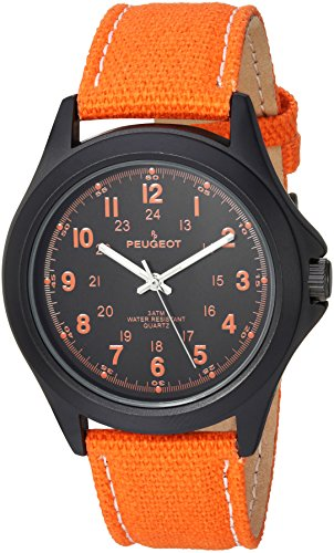 Peugeot Women's 'Aviator' Quartz Metal and Canvas Casual Watch, Color:Orange (Model: 2055OR)