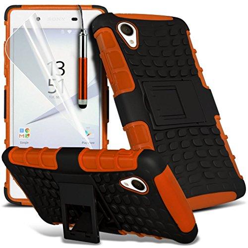 Fall für <b>      Sony Xperia Z5 hülle     </b>     Case Universal Car Phone Halter Halterung Armaturenbrett und Windschutzscheibe für iPhone y i -Tronixs Shock proof + Pen (Orange)