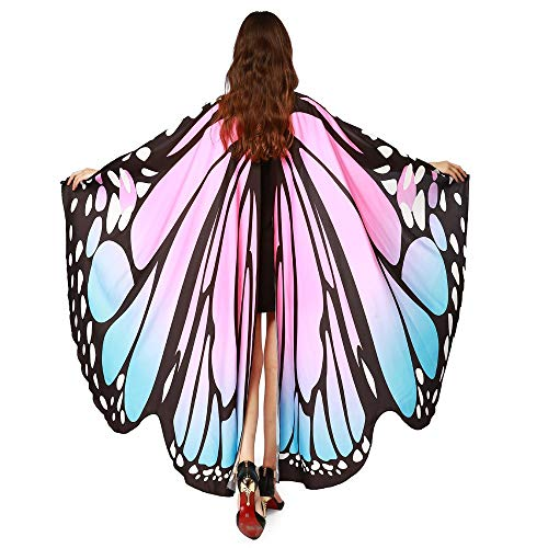 Nymphe Rosa Kostüm - LEXUPE Frauen-Schmetterlingsflügel-Schal-Schal-Damen-Nymphen-Elf-Poncho-Kostüm-Zusatz(Rosa,Free Size)