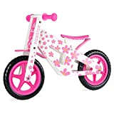 "RideStar Kids Wooden Balance Training Bike, Lightweight Walking Running Bicycle, 12"" EVA Foam Puncture-Proof Tyres, Ages 2-4, Pink White"