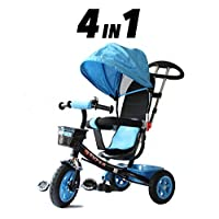 All Road Trikes Childs 4 in 1 Trike - Blue & Black - Push along Pedal Kids Tricycle CE Approved