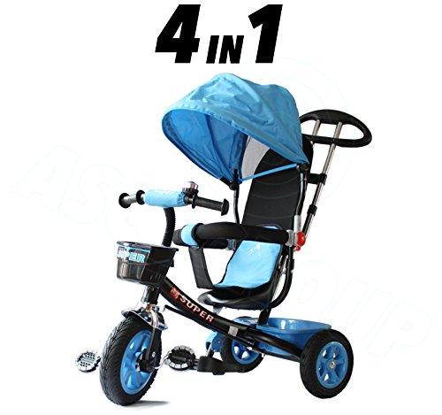 Childs 4en 1Tricycle-Bleu et Noir-Push Along Pédale enfants Tricycle Approuvé CE