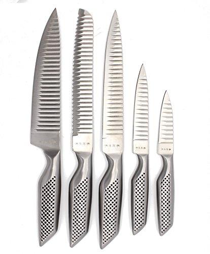 Set di 5coltelli da cucina con lame speciali, lama e manico in un unico pezzo di acciaio inox, igienico e affilato, coltello da chef, da cucina, da pane, multiuso e spelucchino