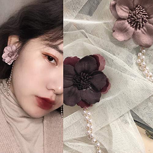 Koreanische Version der Fee Temperament Garn Blume asymmetrische Blume Safran Perle Quaste Anhänger Ohrring Ohrring Schiene -