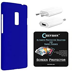 Chevron Rubberized Back Cover Case for OnePlus 2 with HD Screen Guard & USB Mobile Wall Charger (Royal Blue)