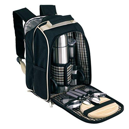 Picknickrucksack für 2 Personen mit Kühlfach 27 x 18 x 35 cm ohne Picknickdecke