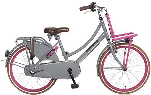 22 Zoll Mädchen Holland Fahrrad 3 Gang Popal Daily Dutch Basic+ TR22N3, Farbe:grau-pink