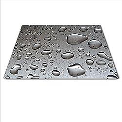 Cache-plaque en verre pour cuisinière vitrocéramique ou à induction - 59 x 52 cm - Motif gouttes