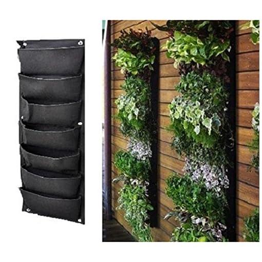 LUOEM 7-tasca Verticale Appeso Fioriere Pocket Giardino Verticale Parete Outdoor Indoor Herb Fioriera e Borse