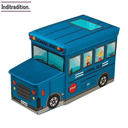 Inditradition Kids School Bus Storage Box, Blue