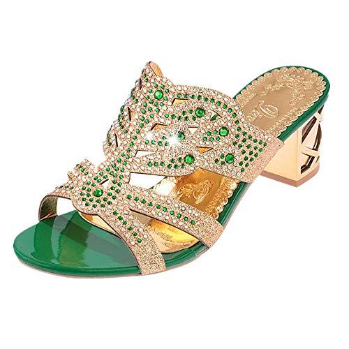 Strungten Frauen Kristall Strass Pfau gemusterten handgefertigten Sandalen Plattform Keil Kleid Slip Sandalen Hausschuhe