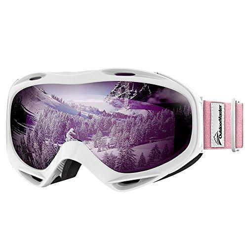 OutdoorMaster Premium Skibrille, Snowboardbrille Schneebrille OTG 100% UV-Schutz, Helmkompatible Ski Goggles für Damen&Herren/Jungen&Mädchen(Weißer Rahmen + VLT 30,5% lila Linse mit REVO Silber)