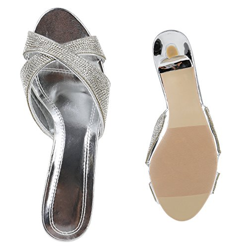 Damen Übergrössen Pantoletten Party Sandaletten Strass Glitzer Abend Schuhe Silber Strass