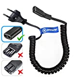 T POWER for Philips Norelco, Remington, Grundig, Braun, Eltron Shaver Power Lead Electric Shavers Razors Cable Universal Shaver Cord, Coiled (CHECK MODEL LIST IN DESCRIPTION)