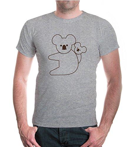 buXsbaum® T-Shirt Koalabär-Tier-Silhouette Heathergrey-Brown