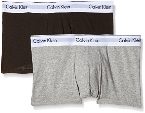 Calvin Klein Herren Boxershorts 2p Trunk Grau (HEATHER GREY/BLACK BHY)
