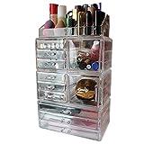 Organizador Maquillaje 11 Cajones Grandes Acrílico Transparente por Kurtzy - 11 Cajones Bajos y Profundos -Sección Superior para Lápiz Labial y Cosméticos de Pie - Set Cajones de Escritorio