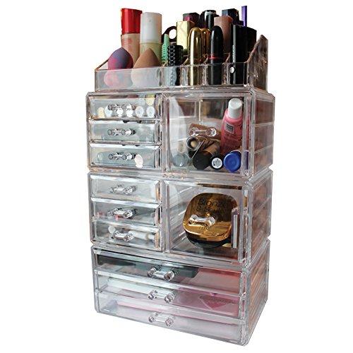 Large Organisateur en Acrylique Transparent avec 11 Tiroirs pour Maquillage et Cosmétiques par Kurtzy - 11 Tiroirs de Profondeurs et Tailles Variées - Vanity Section Supérieure pour Rouges à Lèvres